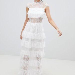 nwt asos vero moda white lace wedding dress xs